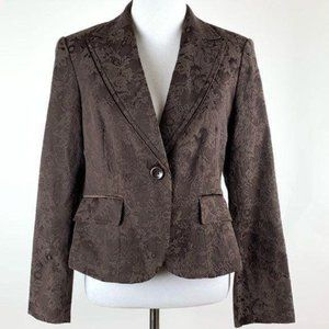 Style & Co blazer size 8p brown floral brocade